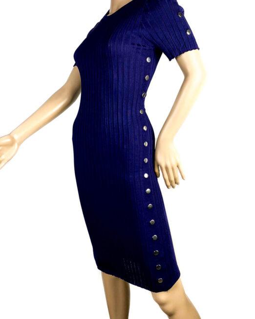 rochia bleumarin mulată cu mânecă scurtă damă,