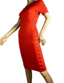 rochia orange mulată cu mânecă scurtă damă,