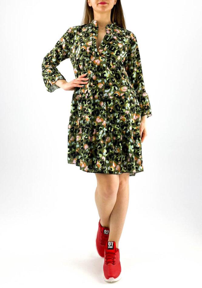 rochie damă midi verde cu imprimeu colorat animal print,