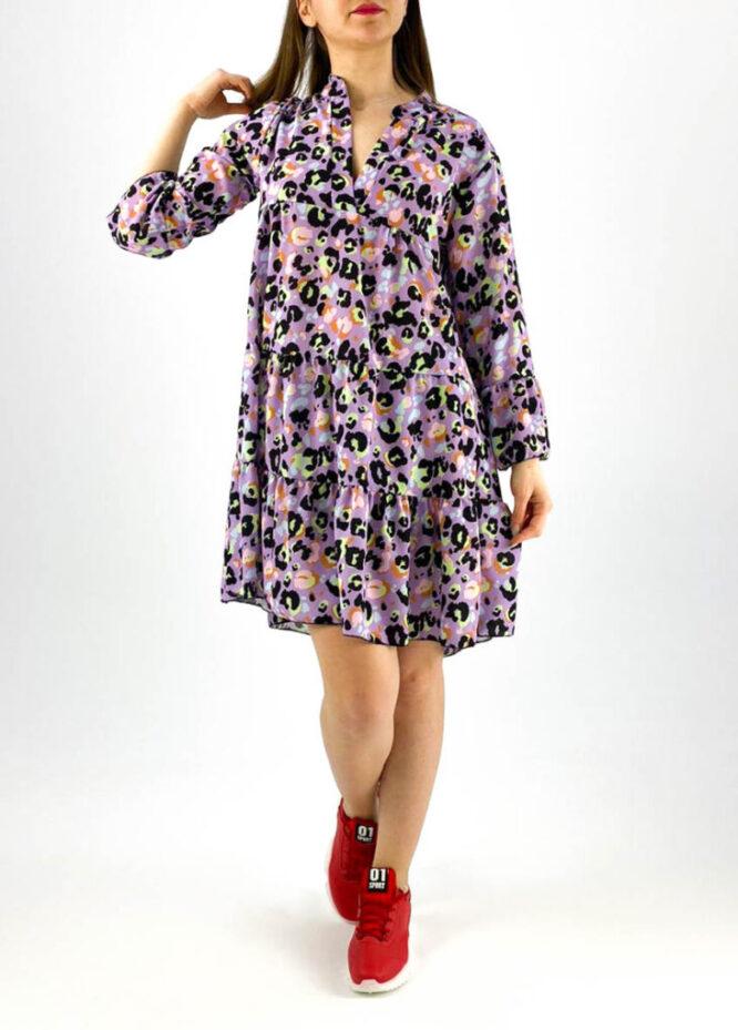 rochie damă midi mov cu imprimeu colorat animal print,