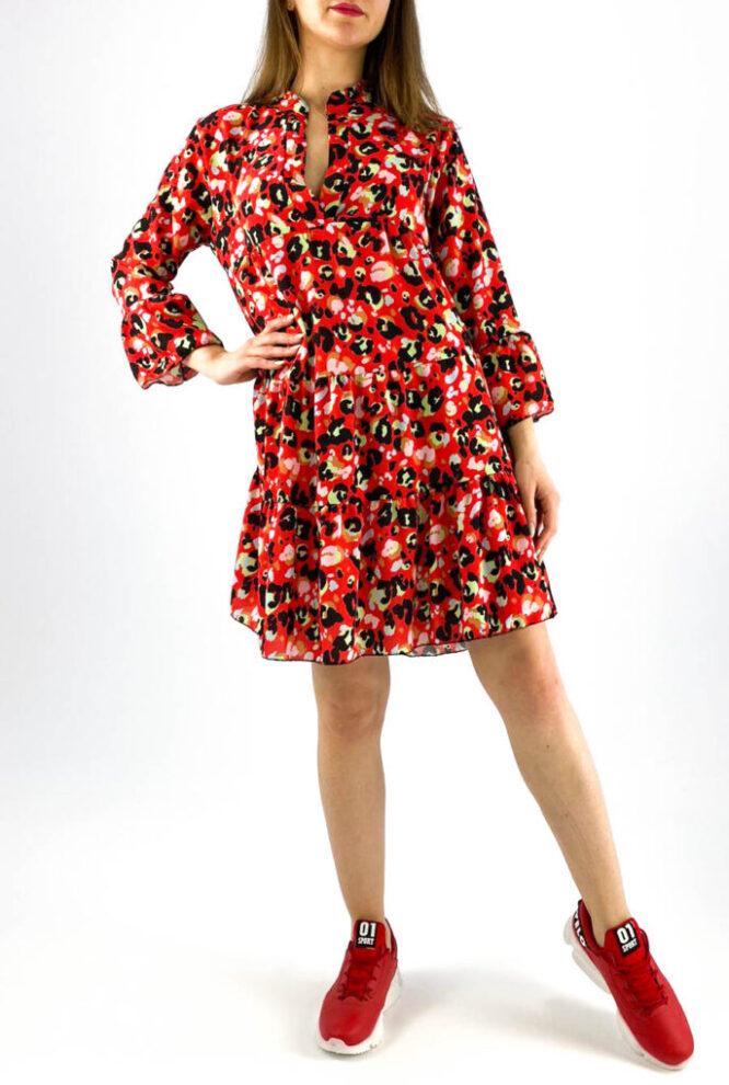 rochie damă midi roșie cu imprimeu colorat animal print,