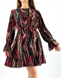 rochia damă bordo cu imprimeu animal print color,