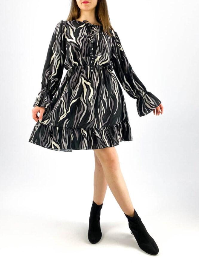 rochia damă gri cu imprimeu animal print color,