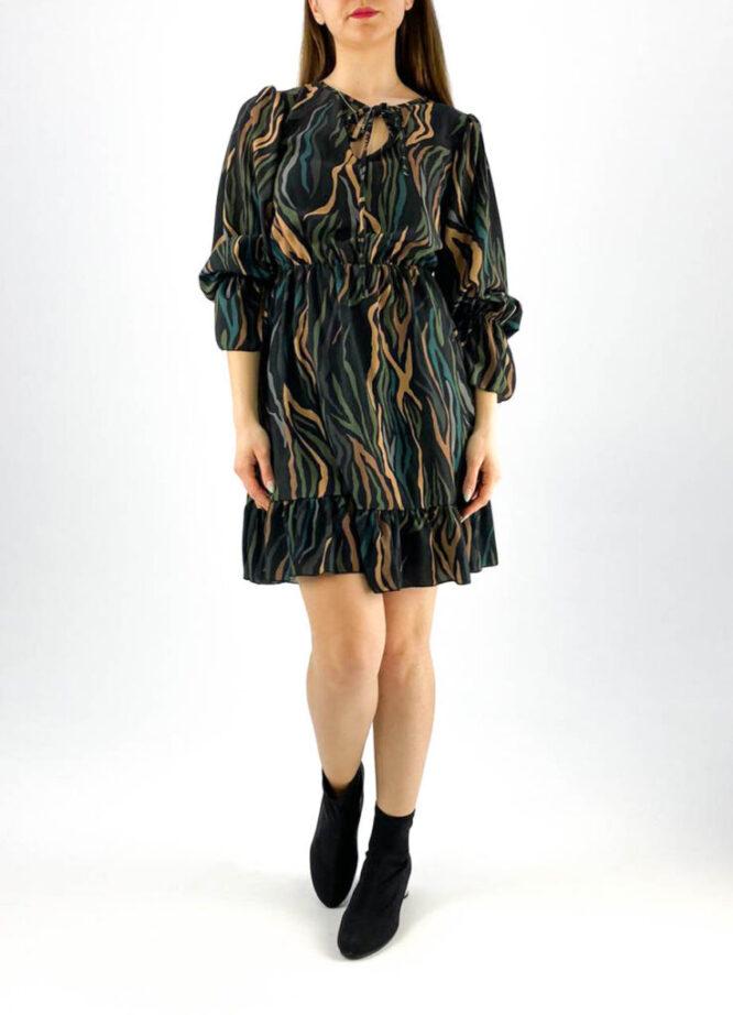 rochia damă verde cu imprimeu animal print color,