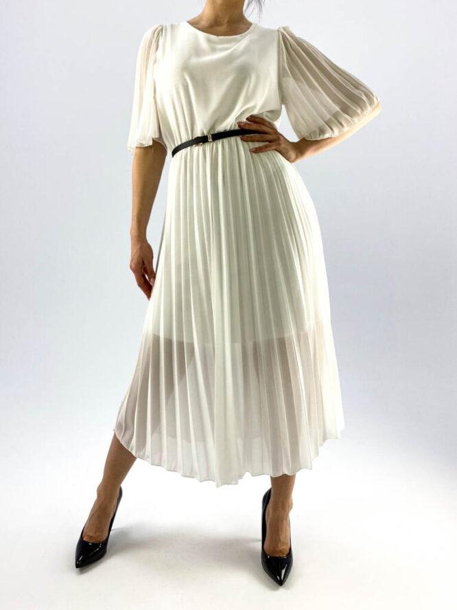 rochie albă plisată damă,