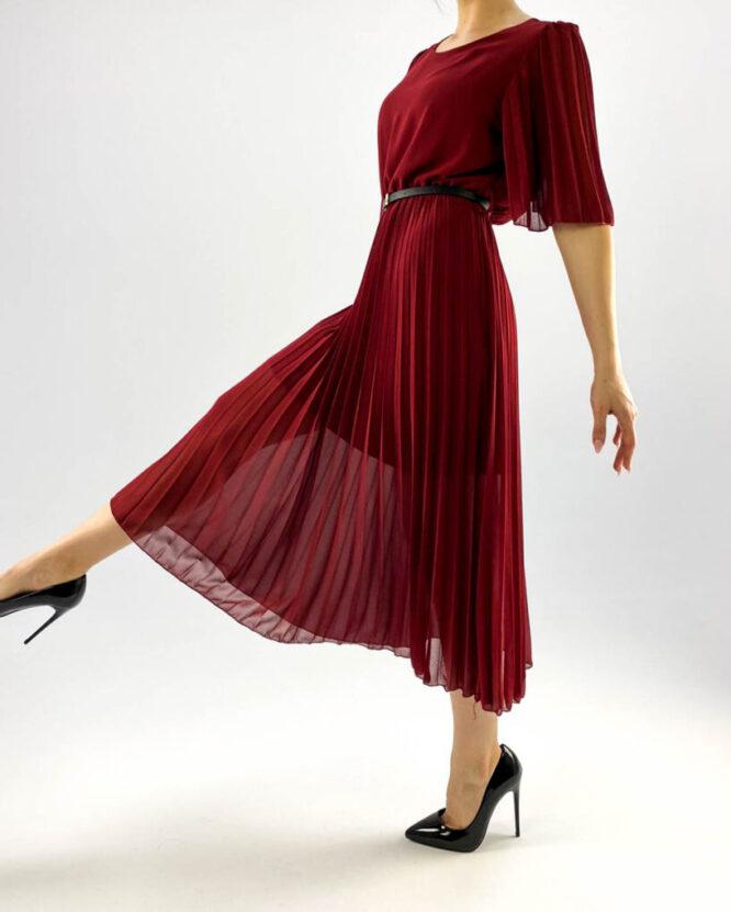 rochie bordo plisată damă,