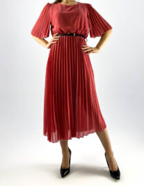 rochie roz plisată damă,