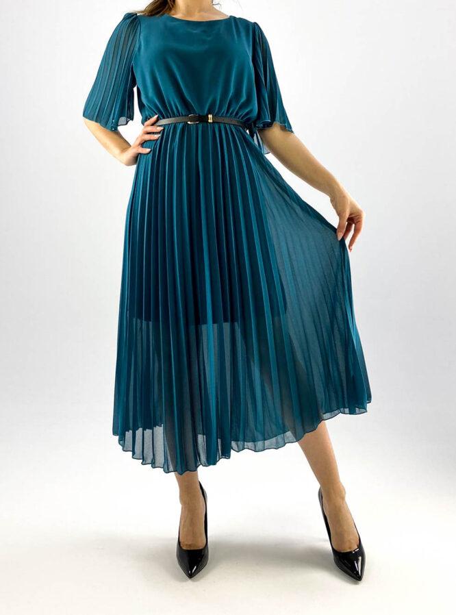 rochie turquoise plisată damă,