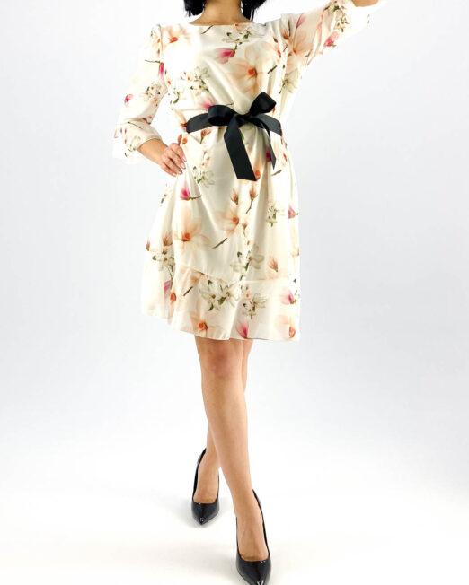 rochie albă scurtă damă cu imprimeu floral,