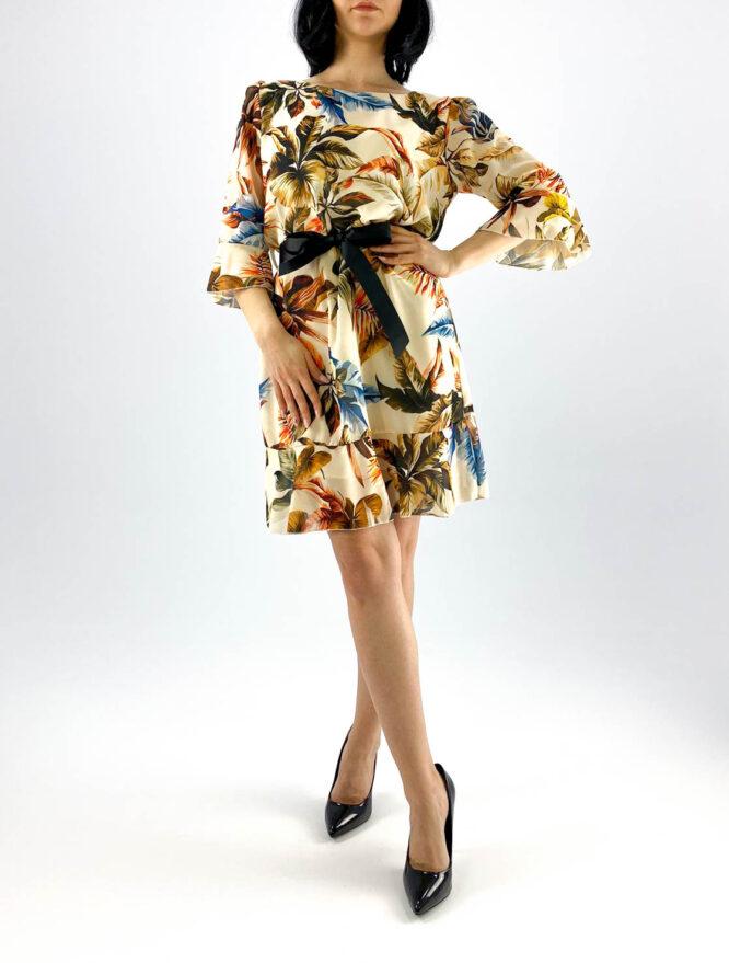 rochie beige scurtă damă cu imprimeu floral,