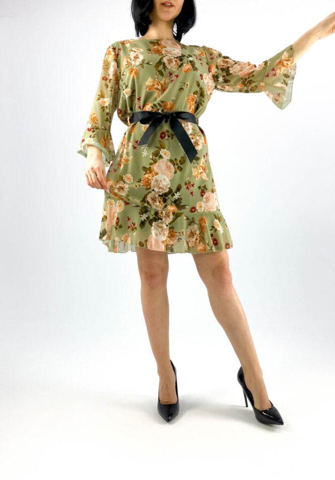 rochie kaki scurtă damă cu imprimeu floral,