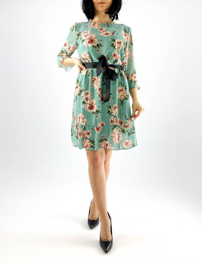 rochie verde scurtă damă cu imprimeu floral,