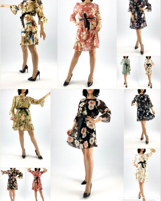 rochie scurtă damă cu imprimeu floral,