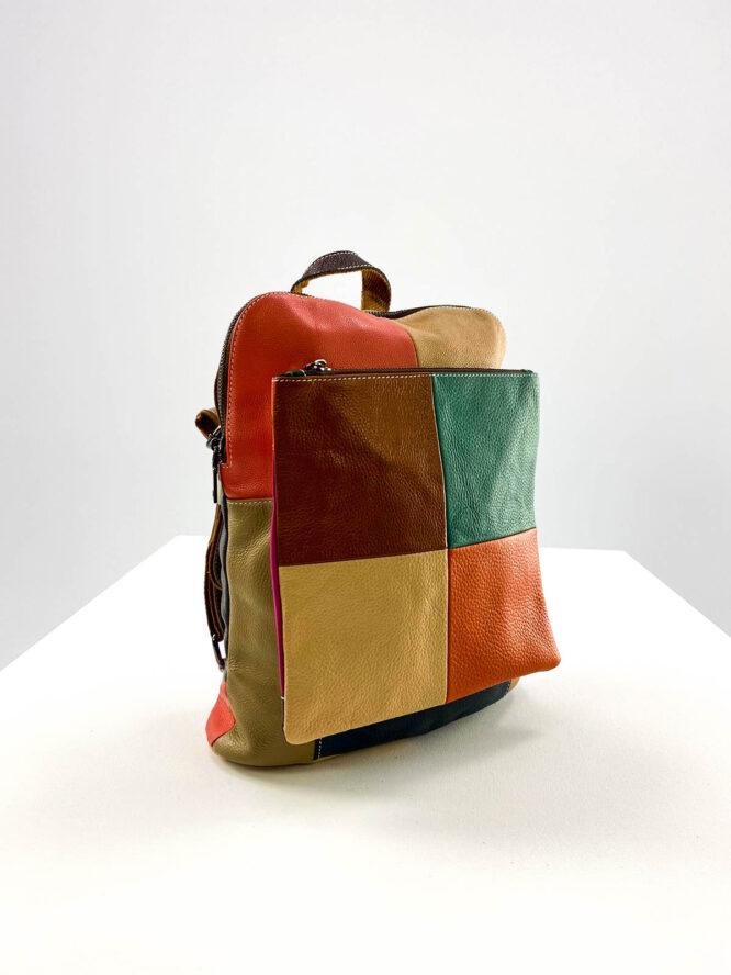 rucsac tip geantă damă din piele naturală multicolor,