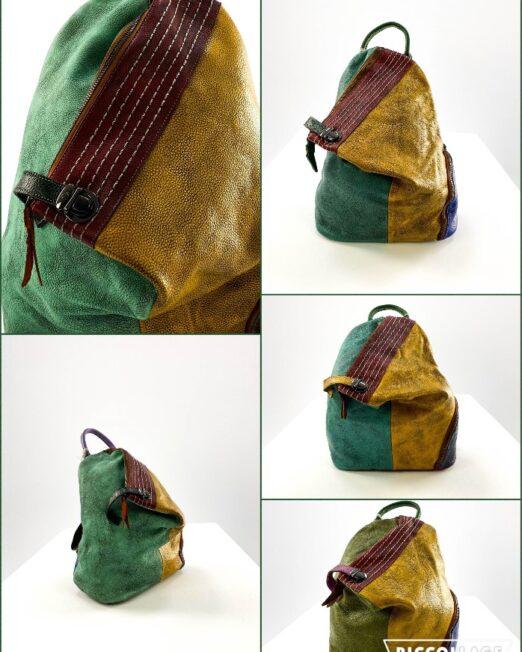 rucsac damă din piele naturală asimetric multicolor,