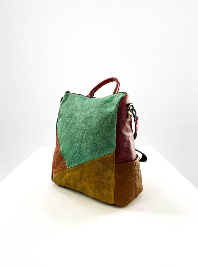 rucsac geantă damă din piele naturală multicolor,