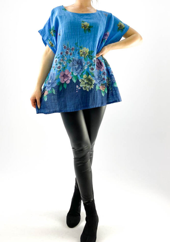 bluză damă albastră largă cu flori,