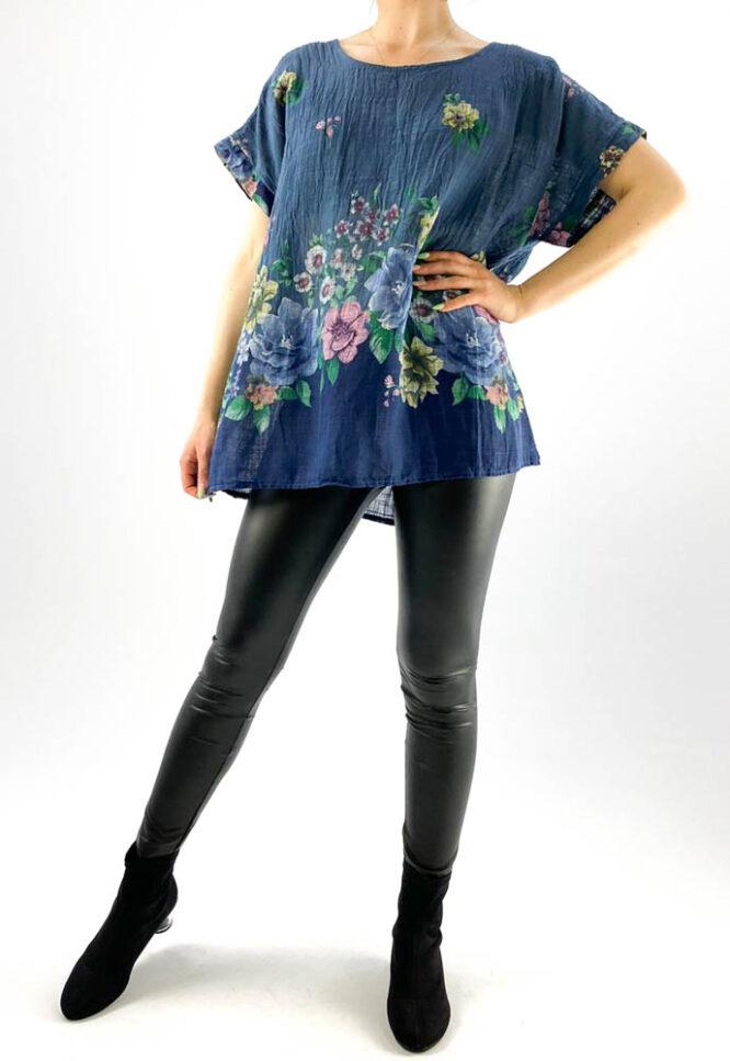 bluză damă bleumarin largă cu flori,