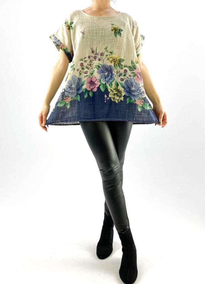 bluză damă beige largă cu flori,