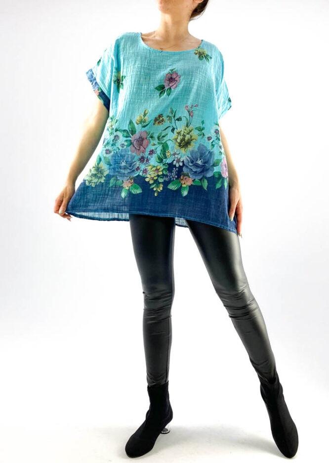 bluză damă bleu largă cu flori,