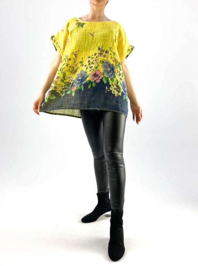bluză damă galbenă largă cu flori,