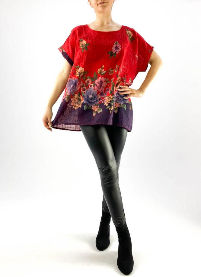 bluză damă roșie largă cu flori,