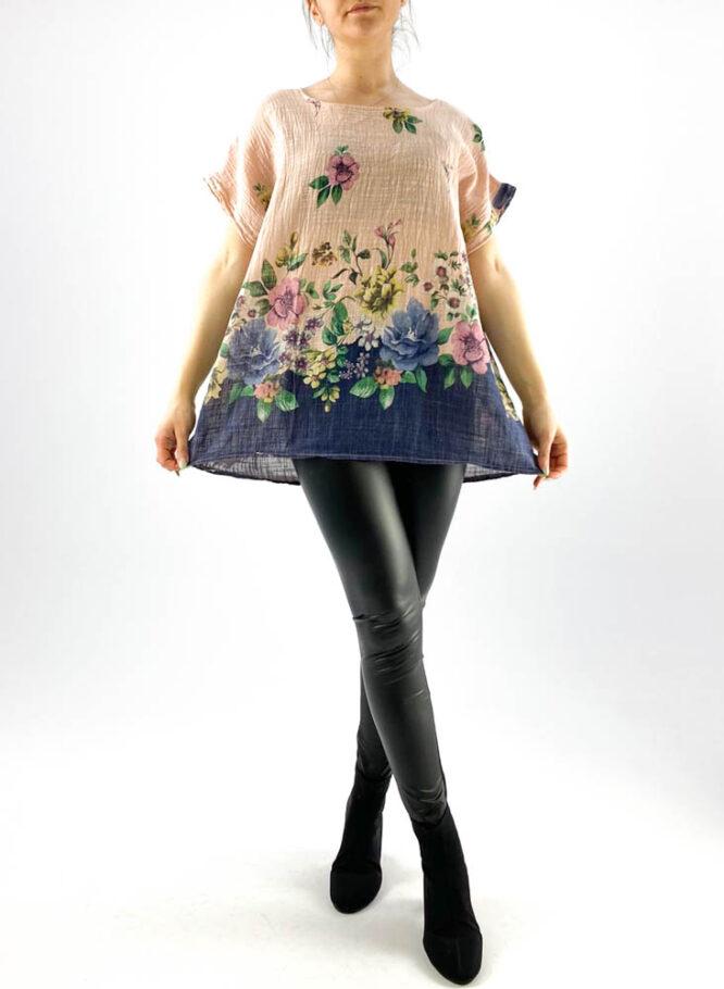 bluză damă roz largă cu flori,