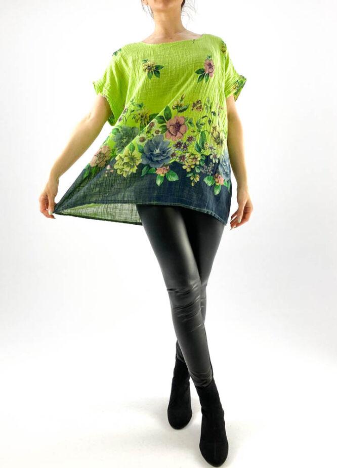 bluză damă verde largă cu flori,