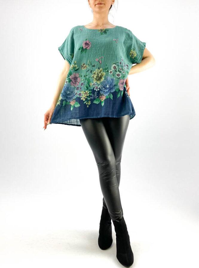 bluză damă verde marin largă cu flori,