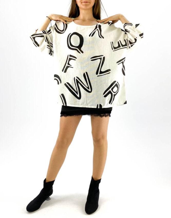 bluză damă albă oversize inscripționată,