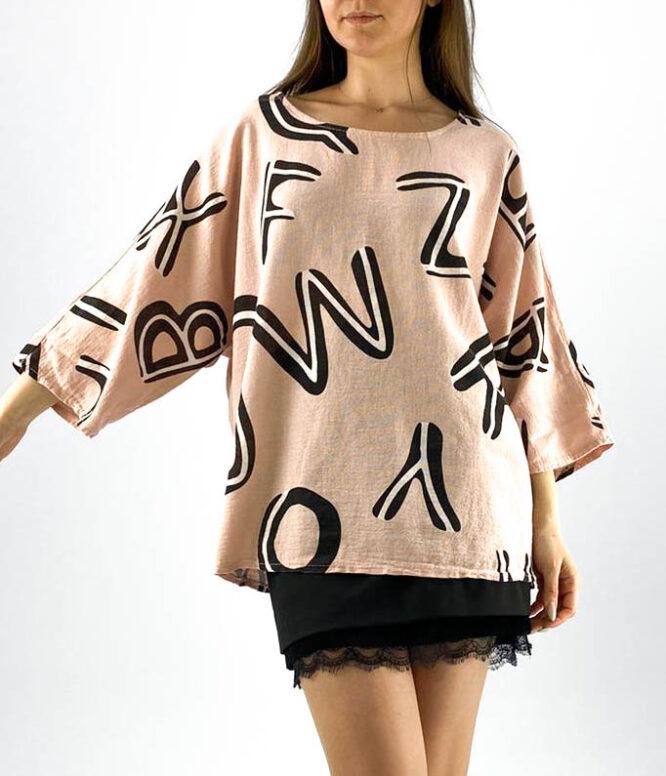 bluză damă roz oversize inscripționată,