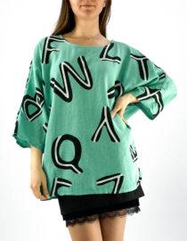 bluză damă verde oversize inscripționată,