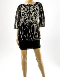 bluză damă neagră cu flori și dantelă,