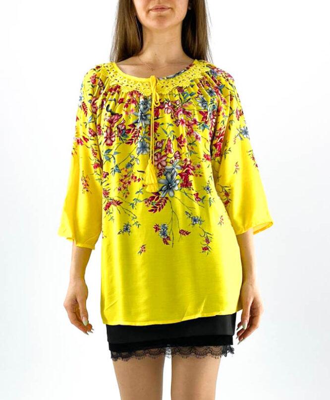 bluză damă galbenă cu dantelă și imprimeu floral,