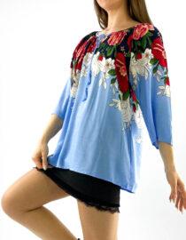 bluză damă albastră subțire și lejeră cu imprimeu floral,
