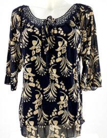 bluză damă bleumarin cu imprimeu și dantelă tip ie,