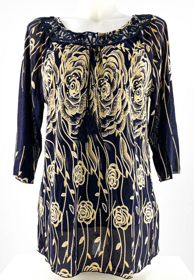 bluză damă bleumarin cu dantelă și imprimeu tip ie,