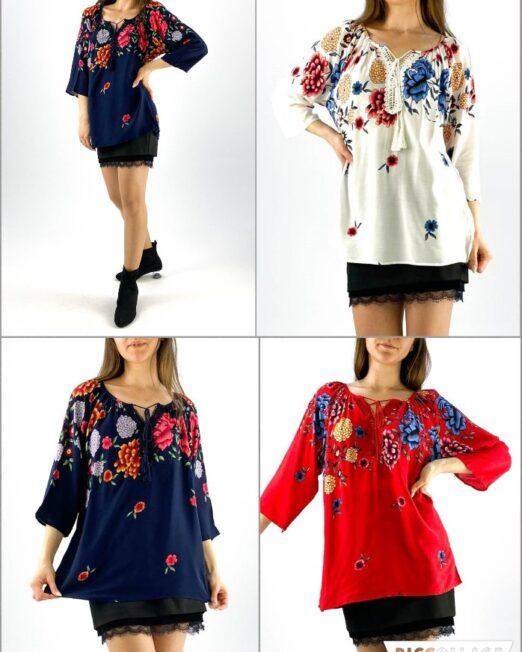 bluză damă tip ie cu imprimeu floral și dantelă,