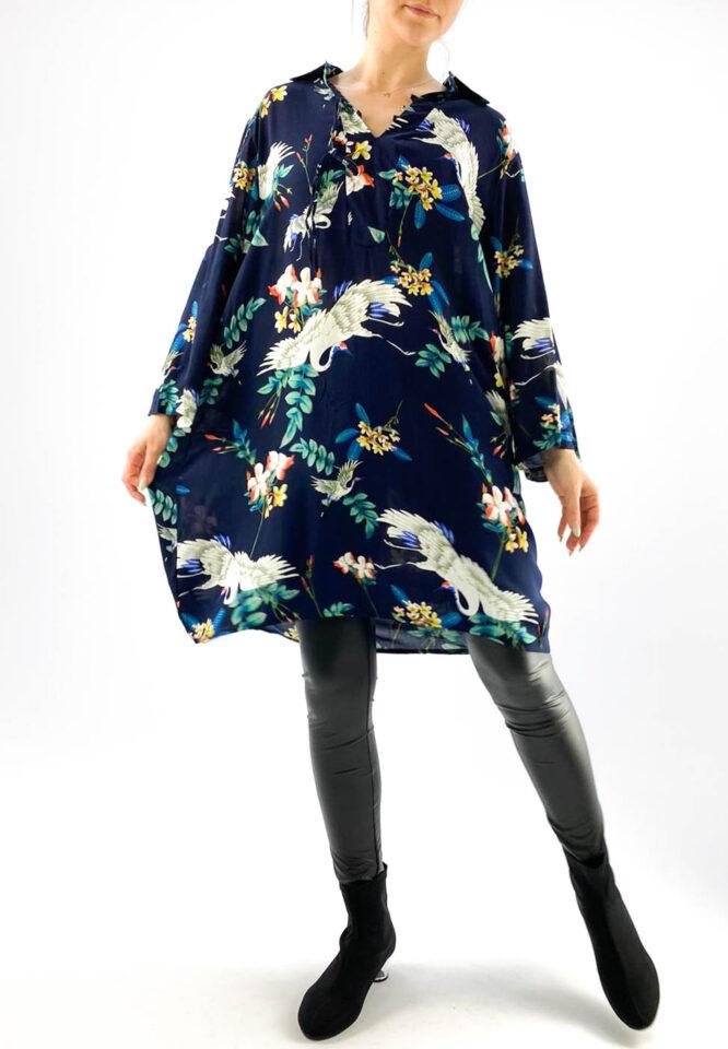bluză damă bleumarin tip tunică lungă,