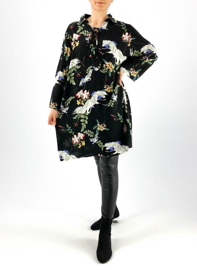 bluză damă neagră tip tunică lungă,