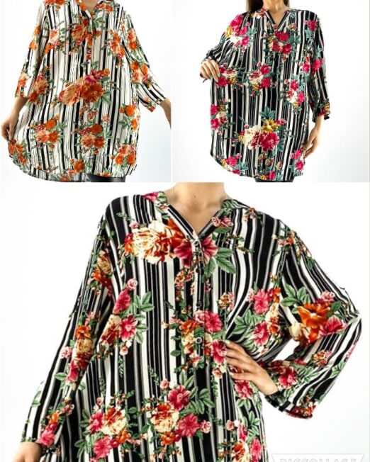 cămașă de damă lejeră cu împrimeu floral,