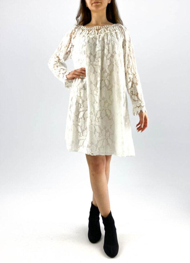 rochia damă albă lejeră din dantelă,
