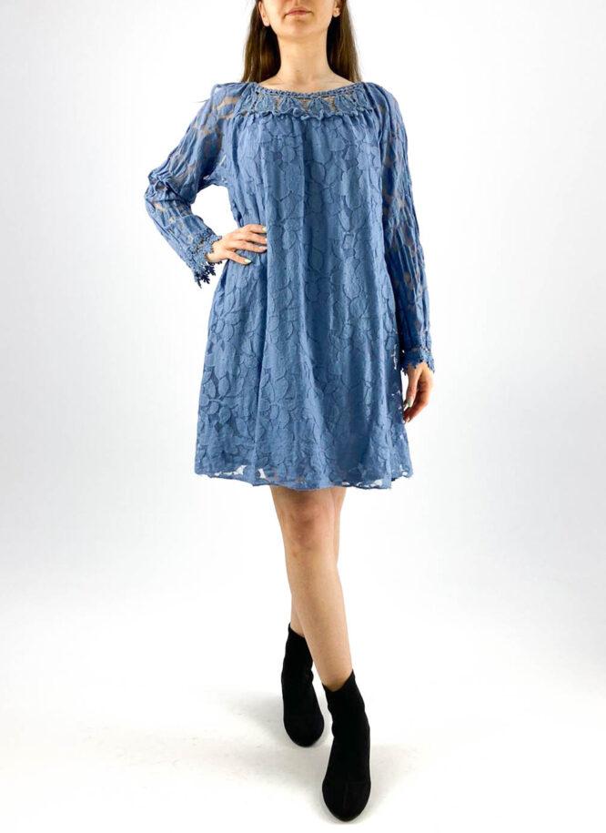 rochia damă albastră lejeră din dantelă,