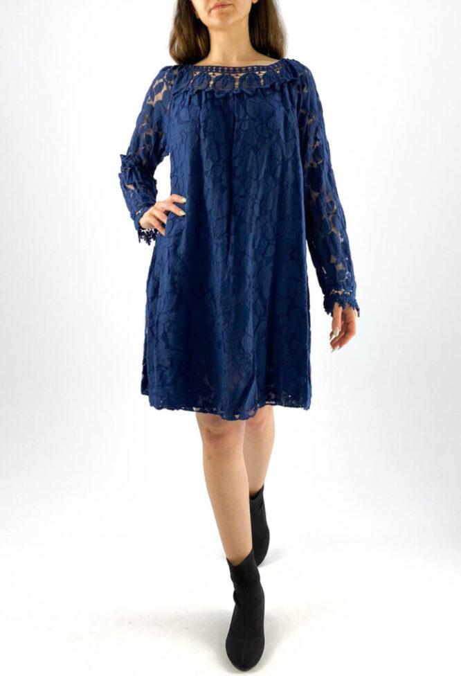 rochia damă bleumarin lejeră din dantelă,