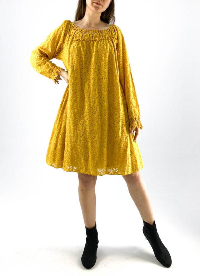 rochia damă galbenă lejeră din dantelă,