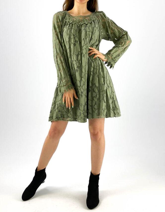 rochia damă kaki lejeră din dantelă,