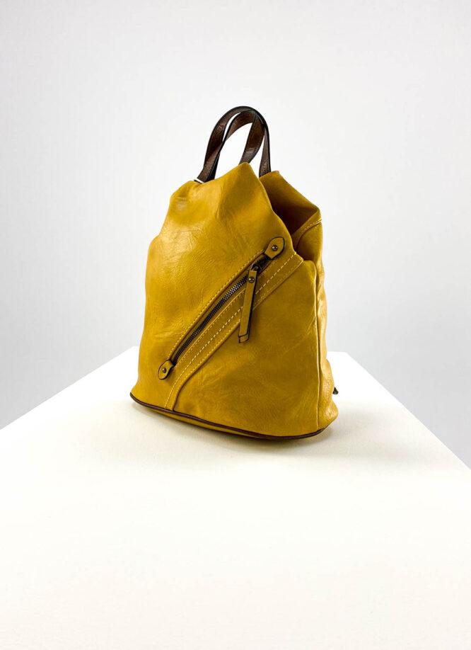 rucsac damă galben sport din piele ecologică,