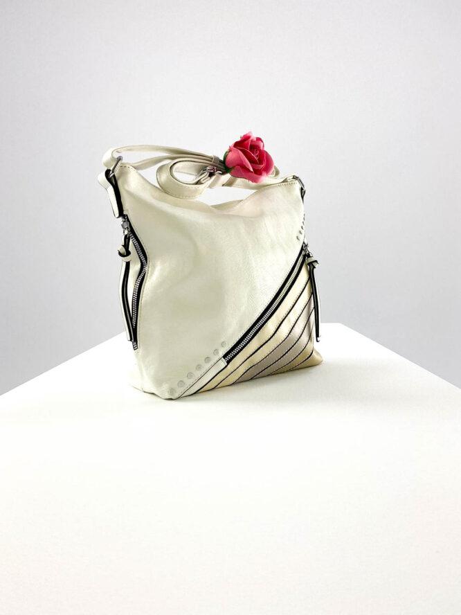 geantă damă albă casual din piele ecologică,