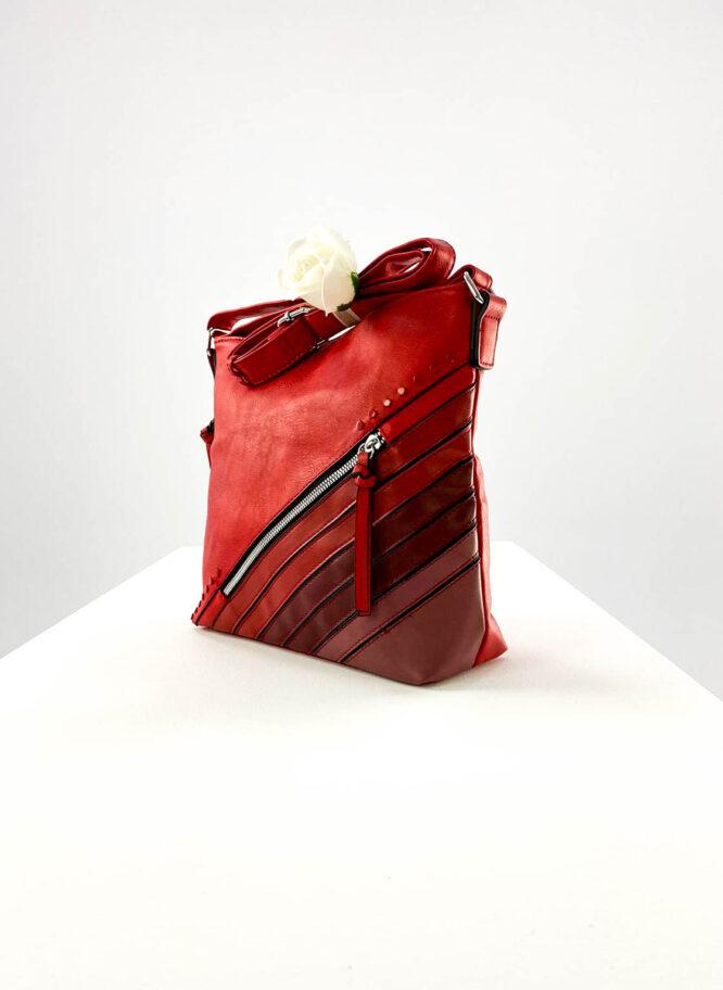 geantă damă roșie casual din piele ecologică,