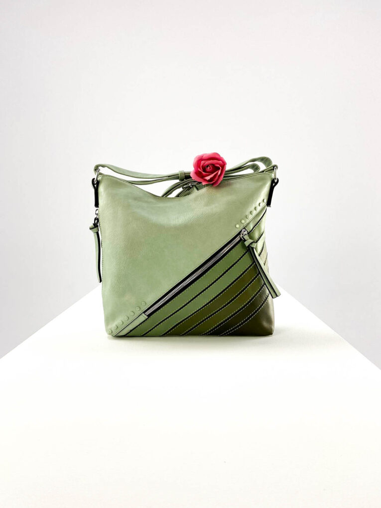 geantă damă verde casual din piele ecologică,